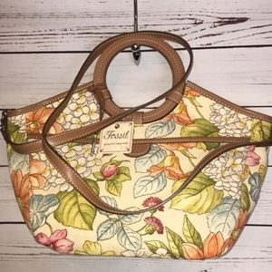 Fossil Avignon floral satchel bag ring handle NWT